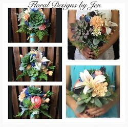 12 Piece Wedding Bouquet Package Silk Flowers Set Succulent Bouquets