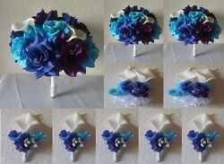 Peacock Royal Blue Purple Turquoise Rose Calla Lily Bridal Bouquet Package