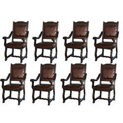 Eight Rustic Gran Hacienda Leather Arm Chairs Solid Wood Lodge Old World