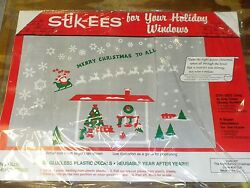 Christmas Decoration Cling Night Before Fireplace w Poem Windows