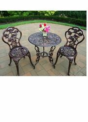 Patio Dining Set Outdoor Furniture Antique Bronze Aluminum Chairs Table 3-Piece