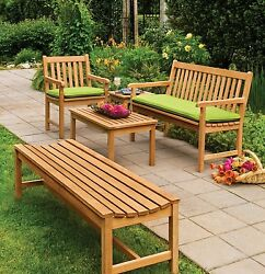Classic Outdoor English Garden 5' Shorea Wood Bench Seat Sit Patio Furniture USA