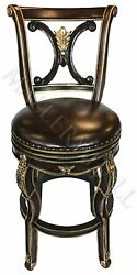 Solid Vietnamese Mahogany Frame Carved Leather Seat Stool Dark or Ivory Finish
