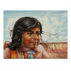 Untitled (Native American Child) By Anthony Sidoni Signed Oil on Canvas 12