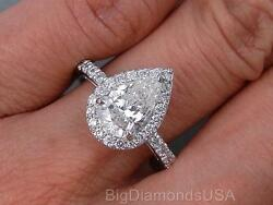 2.08 CARATS TW PEAR SHAPE DIAMOND ENGAGEMENT RING G SI1