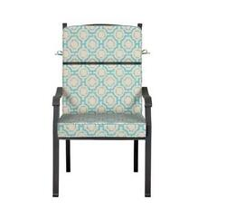 Outdoor Patio Dining Chair Cushion Seat Back Replacement Blue Beige Geometric