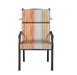Outdoor Patio Dining Chair Cushion Seat Replacement Gray Orange Yellow Stripe