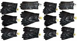 Lot of 12 Men's leather gloves (L) Black Unbranded hand warmer winter gloves BN
