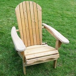 Outdoor Garden Patio Foldable Adirondack Chair Natural Wood Sturdy Comfort Relax
