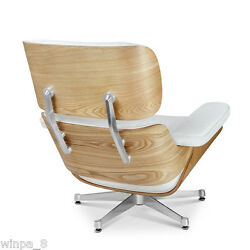 Eames Style Ashwood Lounge Chair and Ottoman White Genuine Leather Aluminum Base