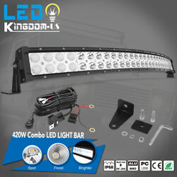 32inch 420W Curved LED Light Bar ComboFree Wiring Kit Offroad Truck 4WD ATV SUV $53.99