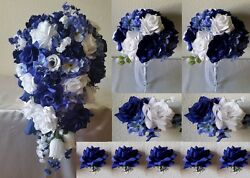 Royal Blue White Rose Hydrangea Cascading Bridal Wedding Bouquet Package