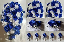 Horizon Royal Blue White Rose Lily Cascading Bridal Wedding Bouquet Package