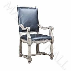 Rustic Grey Black Leather Arm King Head Acccent Chair CHOOSE QTY 2 4 or 6---