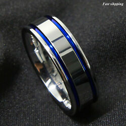 8Mm Tungsten Carbide ring Men's Double Blue Stripe Wedding Band Ring Comfort Fit