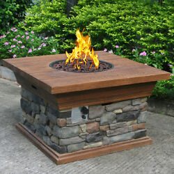 Fire Pit Table Burner Patio Deck Outdoor Fireplace Propane Heater Wood Steel