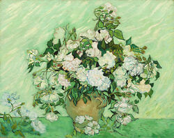 Canvas Wall Art Print Home Decor Van Gogh Painting Repro White Rose Pic Framed $12.25