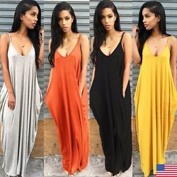Womens Ladies Summer Beach Sundress Boho Evening Party Cocktail Long Maxi Dress $14.99