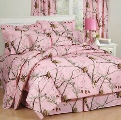 FULL Size 8 PC Realtree All Purpose PINK Comforter Bed Set (Camo Bed In A Bag)
