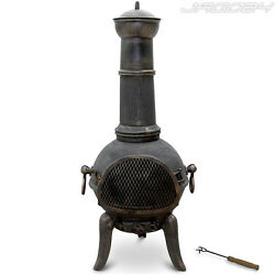 Chimenea Terrace Garden Fire Cast Iron Wood Firepit Heater Patio Oven Chiminea