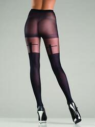 sexy BE WICKED sheer FAUX thigh HIGHS shadow CROSS print PANTYHOSE nylons TIGHTS
