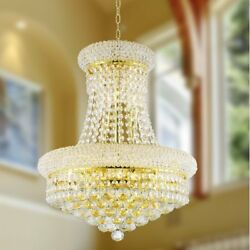 8 Light Gold Finish D 16quot; x H 20quot; Empire Clear Crystal Chandelier Light Small $427.20