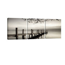Canvas Wall Art Print Painting Picture Home Dec Photo Landscape Bridge Lake Gray