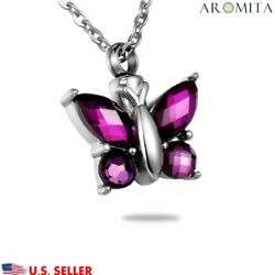 Purple Crystal Butterfly Cremation Jewelry Keepsake Memorial Urn Necklace
