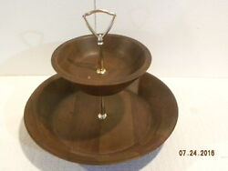 Vintage Solid American Walnut 2 Tiered Serving Dish