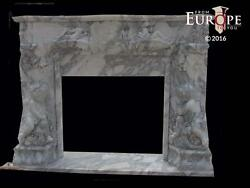 BEAUTIFUL HAND CARVED ITALIAN MARBLE  EUROPEAN DESIGN FIREPLACE MANTEL - IMM3