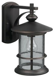 Oil Rubbed Bronze Outdoor Wall Mount Lantern Light Exterior Sconce Seeded Glass