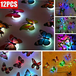 3D Colorful Changing Butterfly LED Night Light Lamp Room Home Party Wall Decor $7.59