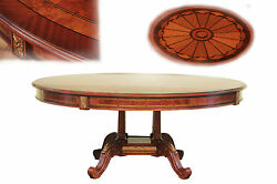 Round Dining Table with Mahogany and Walnut Inlay Gold Trim Details
