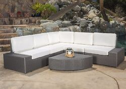 Patio Furniture Set Wicker Sofa Bench Seats Garden Outdoor Sectional 6Pc Lounges
