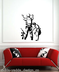 WALL Girl Frisking Soldier Wall Vinyl Decal 22quot;w x 28quot;h BLACK $19.99