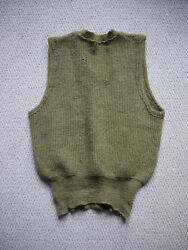 Original Vintage 1940s WWII Private Purchase US ARMY Green Wool Vest