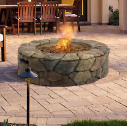 Stacked Stone Fire Pit Portable Propane Outdoor Patio Deck Backyard Pool Natural