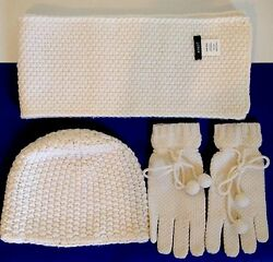 J.CREW Women Ivory Scarf Hat Gloves Wool Cashmere Fall Winter Accessories
