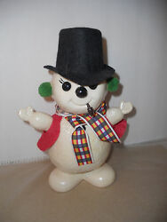 Viintage Snowman w PIPE Black Felt  Hat Earmuffs Coin Bank ROYALTY Label U.S.A