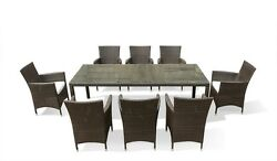WICKER RESIN DINING TABLE + 8 CHAIRS IN & OUTDOOR POLY RATTAN GARDEN PATIO PORCH