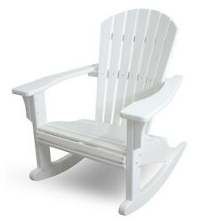 POLYWOOD SHR22WH Seashell Outdoor Adirondack Rocking Chair