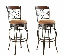 Bar Height Chairs Kitchen Patio Stools Swivel With Back Brown Set Of 2 Metal