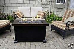 Propane Fire Pit Table Bronze Fireplace Deck Patio Backyard Gas Heater Outdoor