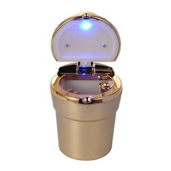 1x Car Portable Smokeless Cigarette Ash Ashtray Golden Cup Holder With LED Light