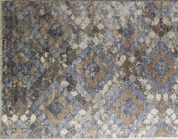 9x12 area rug hand knotted 60% wool 40% art silk Brown gray Distressed Tiles