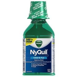 Vicks Nyquil Cold - Flu Nighttime Relief Liquid Original Flavor 12 oz (3 pack)