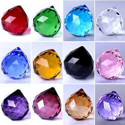 Faceted Chandelier Glass Crystals Lamp Prisms Parts Ball Hanging Drops Pendants $1.99