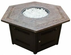 Hiland Fire Pit Hexagon With Slate Table Large
