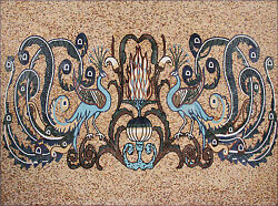 Gorgeous Carpet Blue Peacocks Tiles Stones Marble Mosaic CR1161