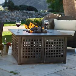 Fire Pit Table Burner Patio Deck Outdoor Fireplace Propane Heater Cover Tile New